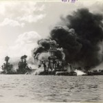 Official U.S. Navy Photograph. [Burning and damaged ships, Pearl Harbor], December 7, 1941. National Archives (80-G-33058)